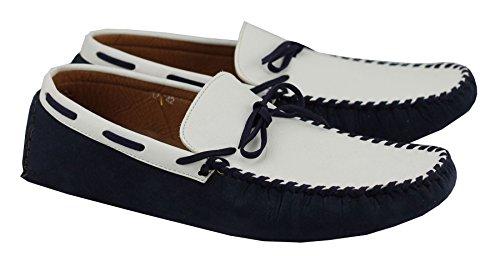En Daim Synthétique pour homme en cuir blanc Mocassins bleu marine Slip Ons Chaussures bateau Mocassins UK 6–11