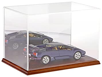 Plymor Clear Acrylic Display Case with Hardwood Base Mirror Back , 12 W x 8 D x 8 H
