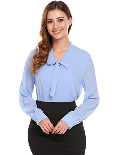Women Tie-Bow Neck Long Sleeve Solid Casual Work Chiffon Shirt Blouses (Pattern Pants Shirt)