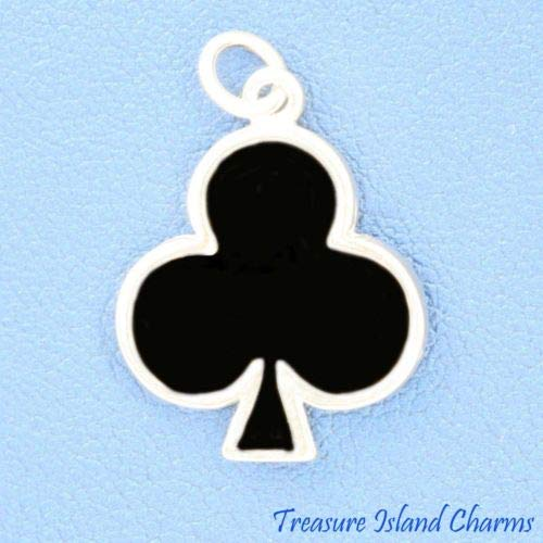 Enamel Clubs Club Playing Cards Suit Gambling 925 Sterling Silver Charm Pendant Crafting Key Chain Bracelet Necklace Jewelry Accessories Pendants