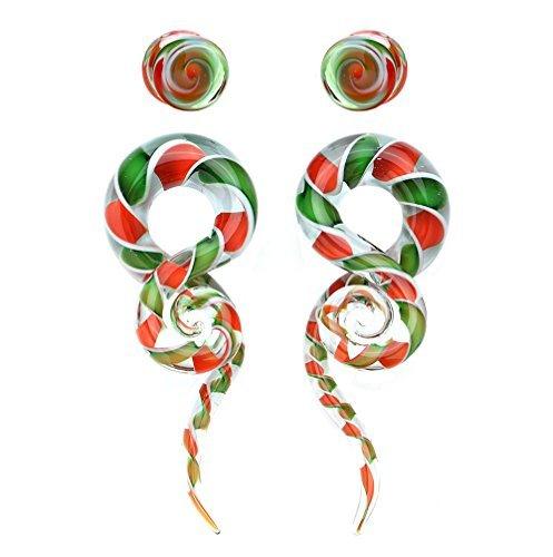 BodyJ4You 4PC Glass Ear Tapers Plugs 2G Candy Cane Swirl Teardrop Spiral Gauges Piercing Set