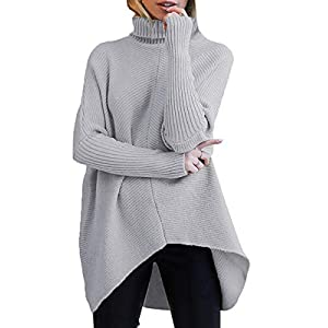 Best Epic Trends 41z982vuaeL._SS300_ ANRABESS Womens Turtleneck Long Batwing Sleeve Asymmetric Hem Casual Pullover Sweater Knit Tops