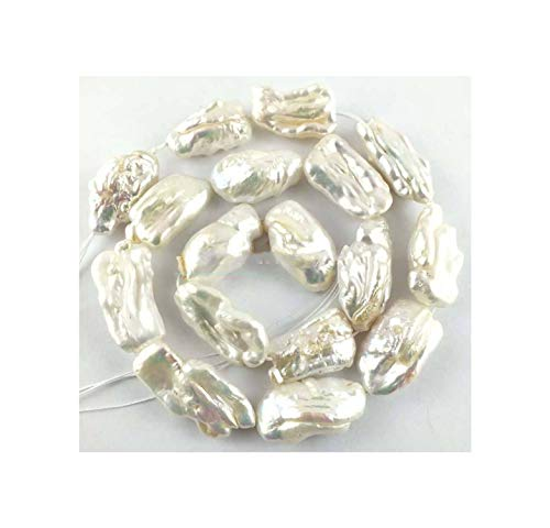 (14-20mm Natural White Freshwater Pearl Bar Flat Loose Beads 14'' )