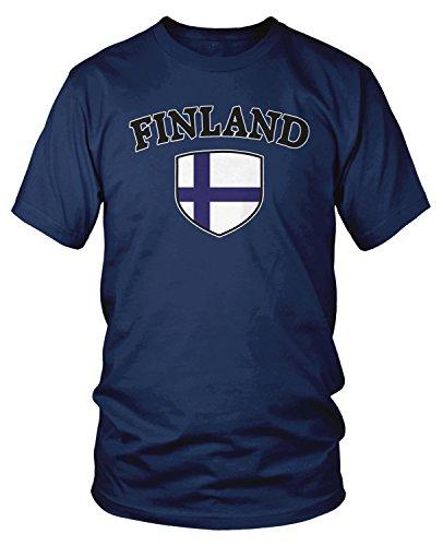 Amdesco Men's Finland Flag Shield, Finn Finnish Pride T-Shirt, Navy Blue Medium (Finnish Arms Coat Of)