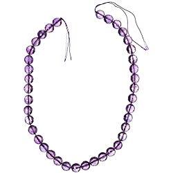 "TR DYNAMIC 10mm Round Amethyst Brilliant Cut Strand, 15"" L, Bead Purple"