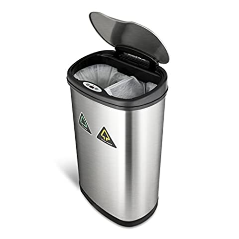 NINESTARS DZT-50-13R The Original Touchless Automatic Motion Sensor Trash Can/Recycler, 13.2 Gal. / 49 L., Stainless (6 Stainless Steel Trash Ring)