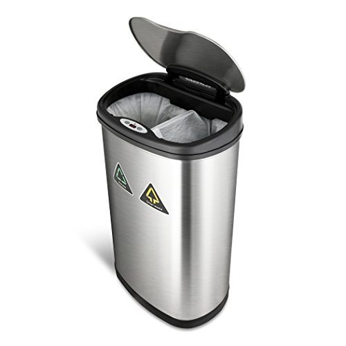NINESTARS DZT-50-13R Automatic Touchless Motion Sensor Oval Trash Can Recycler, 13.2 Gal. 49 L., Stainless Steel