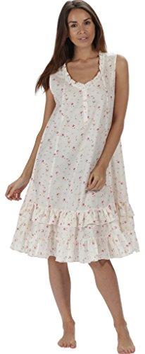The 1 for U Sleeveless 100% Cotton Nightgown - Layla … (XXXL, Vintage Rose) (Rose Nightdress)