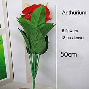 ShineBear 18 Heads 5 Flowers Artificial Flower Plant Silk Potted Anthurium Office Decoration Bonsai Flower 90