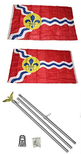 ALBATROS 3 ft x 5 ft City of St Louis Missouri 2ply Flag Aluminum with Pole Kit Set for Home and Parades, Official Party, All Weather Indoors -