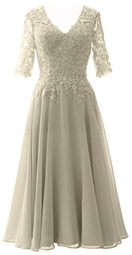 MACloth Women Lace Formal Evening Gown Half Sleeves Mother of The Bride Dress Silber C93d3FZen5