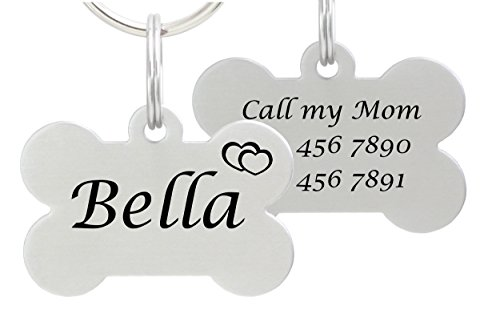 io tags Double Sided Laser Etched Stainless Steel Pet ID Tag for Dog Engraved and Personalized Bone Shape (Hearts) ()