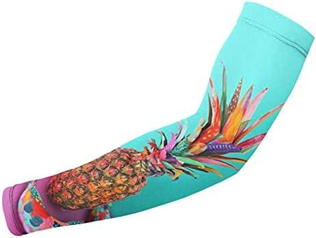 Zonbeschermingsarmmouwen Kleurrijke ananasarmmouwen voor basketbal hardlopen en heren