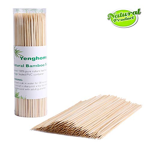 (YengHome Natural Bamboo Skewers for Shish Kabob, Grill, Fruit, Hot Dog,Chocolate Fountain, Food, Size 6 inch(220 PCS))