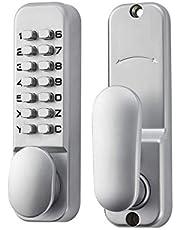 SPOTACT Keyless Door Lock Mechanical Code Lock Retro Style Zinc Alloy 6 Code Lock, Suitable for Garage/Hotel/Office/Studio/Warehouse/File Archives,Satin Chrome Process