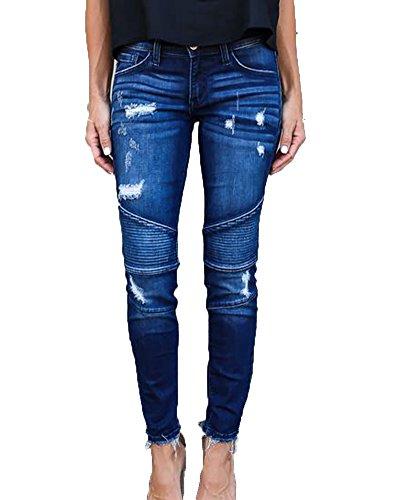 Slim Fit Jeans Elasticos Rotos Pantalones Vaqueros Ocio Estilo Mezclilla Pantalones Azul