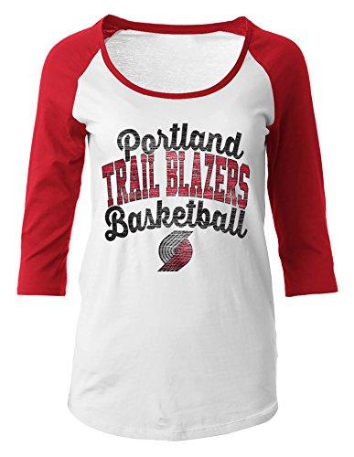 NBA Portland Trail Blazers Women's 100% Cotton Baby Jersey 3/4 Sleeve Scoop Neck Tee, X-Large, - Portland 5th Off