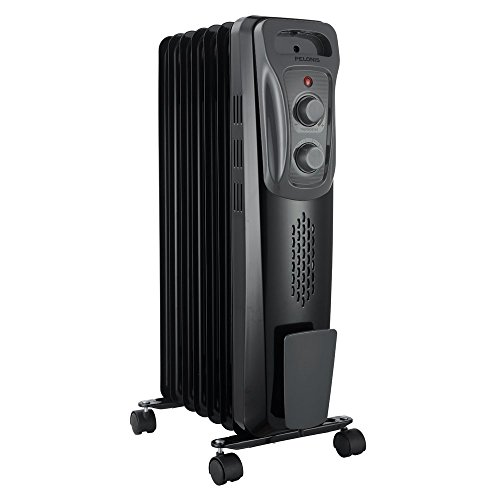 "PELONIS Basic Electric Oil Filled Radiator, 1500W Portable Full Room Radiant Space Heater with Adjustable Thermostat (25.2"" Height), Black"