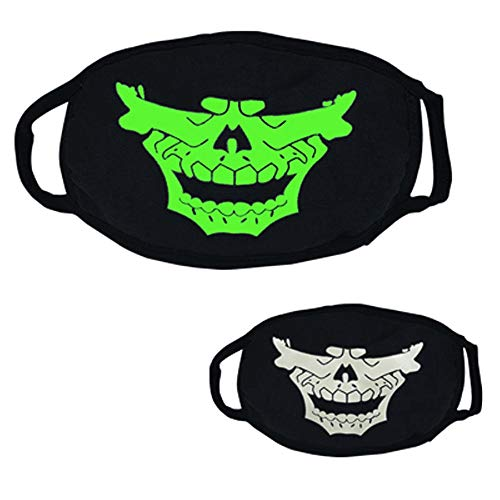 Upaking Black Luminous Ghost Skull Mask, Half Face Scary Horror Impressive Mask for Costume Parties