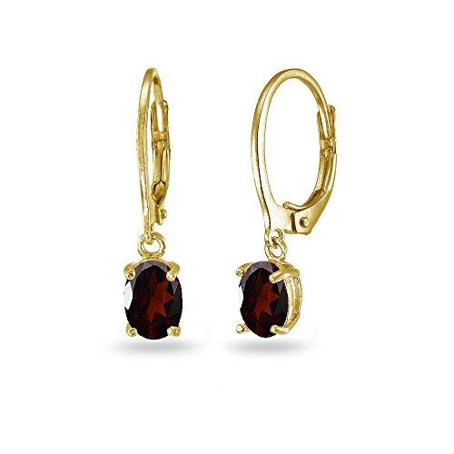 LOVVE Yellow Gold Flashed Sterling Silver Garnet 7x5mm Oval Dangle Leverback Earrings