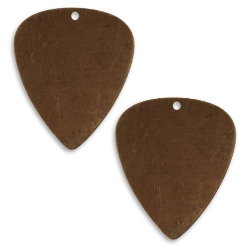 Guitar Bead (Vintaj Natural Brass Altered Blank Stamping Guitar Pick 31x26.5mm (2))