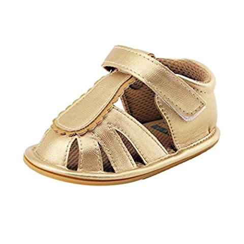 Coper Summer Little Boys Girls Durable Sandals Fashion Closed Toe Shoes (Gold, US:4)