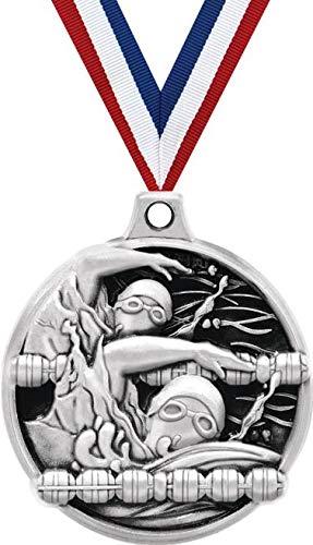 1.5インチの水泳メダル - シルバーの水泳チャレンジャー賞メダル B07GK49HQZ  100