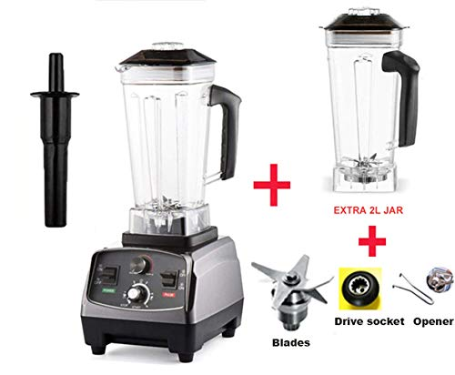 2L Timer Super 2200W Heavy Duty Professional Smart Blender Mixer Juicer Fruit Food Processor Ice Smoothies Crusher,Extra Jar and 3Parts,Spain,EU Plug