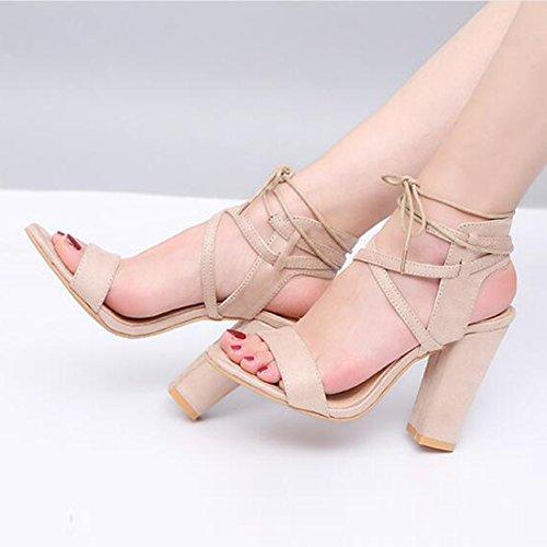 36 beige 42 block caviglia tacco low partito cinturino Donne scarpe sandali in estate alla chunky taglia pizzo qxgSH