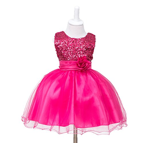 HUANQIUE Baby Girls Wedding Pageant Dress Princess Tutu Dress HotPink 9-12Month