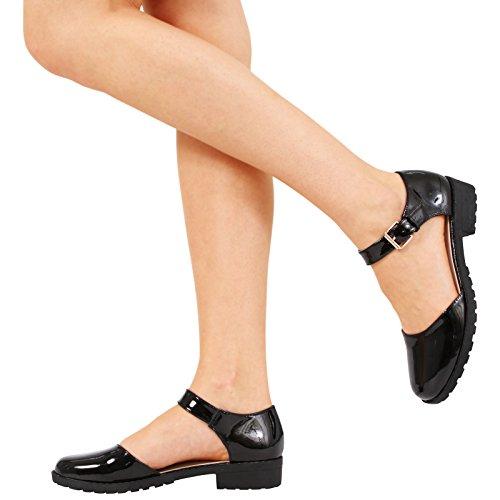 Damen-/Mädchenschuh, Sandale, flach, niedriger Absatz, Knöchelschnalle, Riemen-Sandalen, Schuhe, Größe 13
