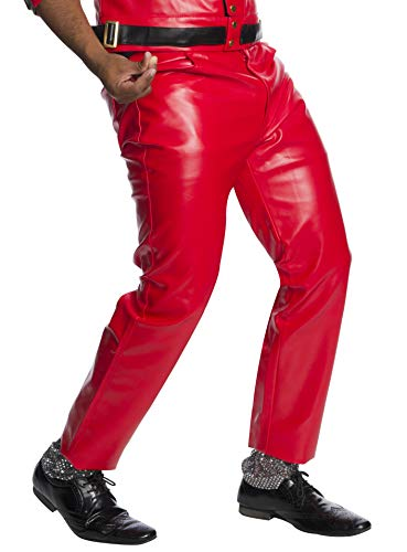 Charades Men's Faux-Leather 4-Pocket Pants, Red, W36