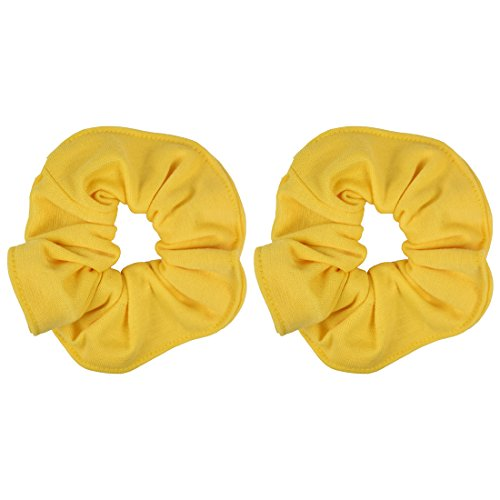 (Set of 2 Large Solid Scrunchies - Yellow)