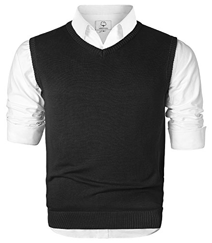 Men's V-Neck Cotton Sleeveless Sweater Casual Vest Black Small