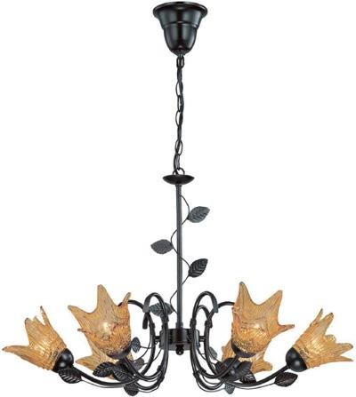 Lite Source LS-19886 Farrell 6-Lite Ceiling Lamp, Dark Bronze with Glass Shade