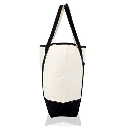 DALIX Monogram Bag Personalized Totes For Women Open Top Black Letter S by DALIX (Image #5)
