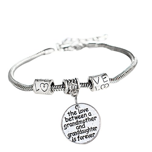 L'vow Love Heart Round Charm Pendant Bracelet Gift for Family (Grandmother and Granddaughter) Round Pendant Bracelet