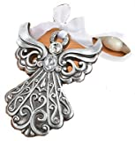 6 Silver Angel Ornaments with Antique