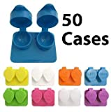 Deep Well Flip-top Contact Lens Cases Bulk Pack of 50 Assorted Colors