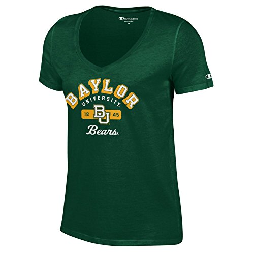 Champion NCAA Women's University Short Sleeve Tagless V-Neck Tee Baylor Bears Medium