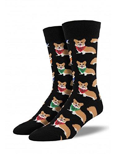 "Socksmith Mens' Novelty Crew Socks ""Corgi"", Black, Sock Size 10-13, Shoe Size 7-12.5"