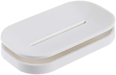 Caja De Jabón Personalidad Caja De Jabón Creativa Capa Doble con Desagüe Bandeja De Jabón Nórdica Simple Caja De Jabón con Soporte De Jabón,White: Amazon.es: Hogar