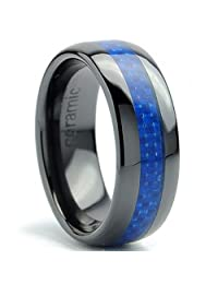Metal Masters Co.® 8MM Dome Men's Black Ceramic Ring Wedding Band With Blue Carbon Fiber Inlay Sizes 5 to 15