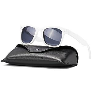 CAXMAN Wayfarer Sunglasses TR90 Unbreakable and Lightweight, 100% UV Protection (White Frame/Polarized Grey Lens, 51)