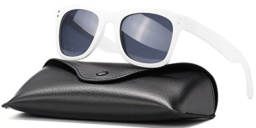 CAXMAN Polarized Sunglasses for Men Women, TR90 Unbreakable and Lightweight, 100% UV Protection (White Frame/Polarized Grey Lens, 51) ()