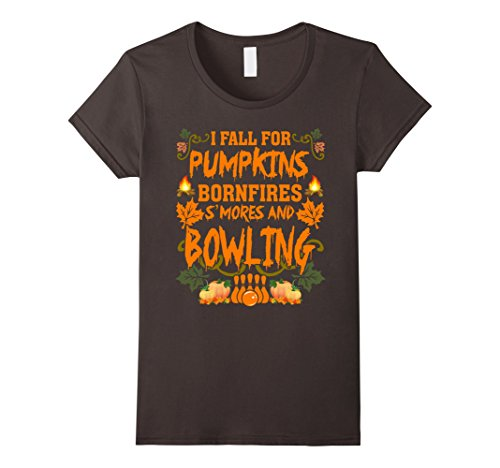 Smores Halloween Costumes (Womens I Fall For Pumpkins Bonfires S'mores And Bowling T-Shirt Medium)