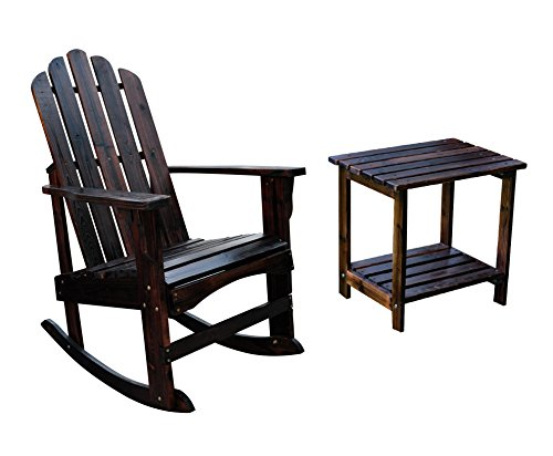 Shine Adirondack Rocker Bundle, Marina Porch Rocker With a Rectangular Side Table in Burnt ()