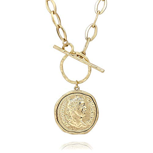 POMINA Gold Silver Medallion Coin Pendant Toggle Necklace (Worn Gold)