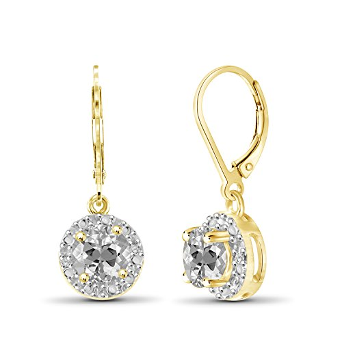 1 1/4 Carat T.G.W. White Topaz And White Diamond Accent 14kt Gold Over Silver Drop Earrings