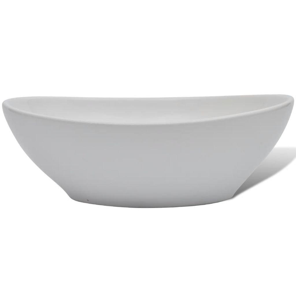 yorten Lavabo Ovalado de Cer/ámica con Orificio de Drenaje Dise/ño Moderno para Ba/ño Cuarto de Aseo o Tocador Blanco 40x33 cm